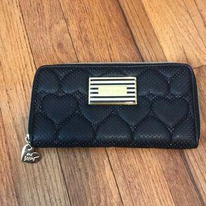 Handbags - Betsey Johnson quilted hearts zip wallet.